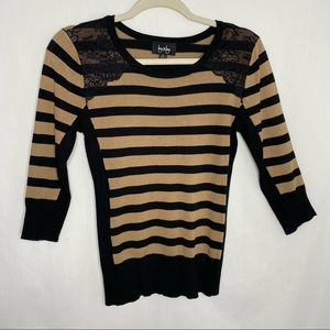 By & by tan and black striped half sleeve sweater